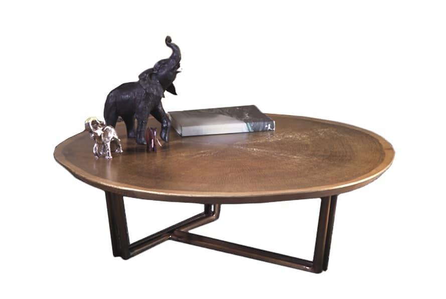 Tavolino Base Scultorea Dubai : Tavolino rotondo basso con base in ottone brunito idfdesign
