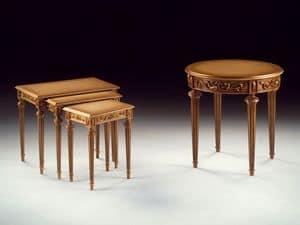 Art. 911 Dec� tondo, Tavolino di lusso intagliato a mano, per suite d'albergo