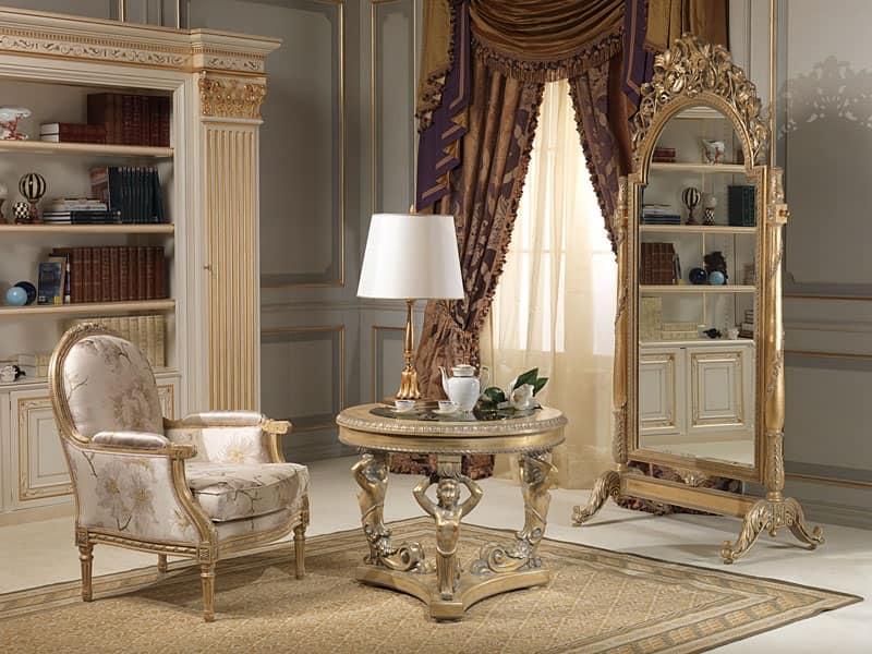 Tavolino in stile piano in vetro sorretto da 3 cariatidi for Tavolini salotto amazon