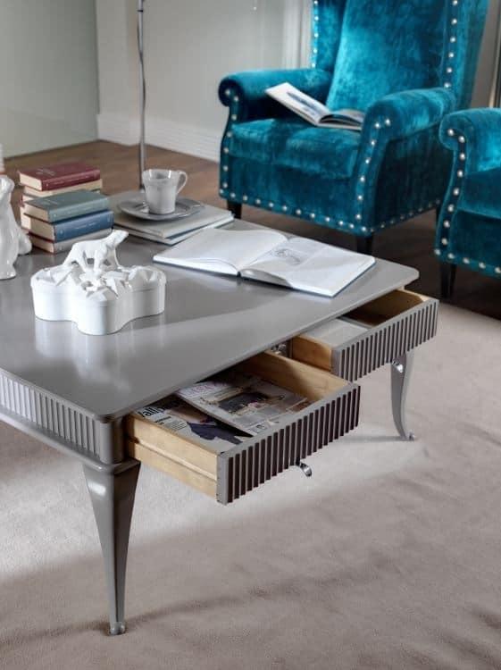 Art. CA124, Tavolino basso in legno, con intagli, per salotto classico