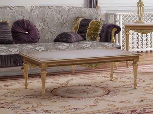 Art. LUIGI XVI RECT/L, Lussuoso tavolino in legno decorato artigianalmente