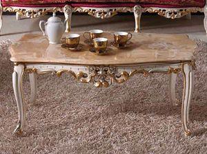 Baroque tavolino, Tavolino classico intagliato, con piano in marmo