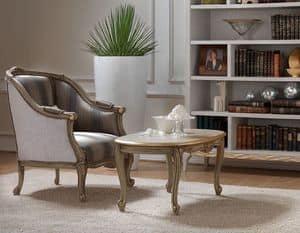 Belle Epoque 484 tavolino, Tavolino da salotto, in stile classico, in legno intagliato da maestri artigiani