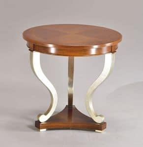 BOSTON tavolino 8449T, Tavolino rotondo lavorato a mano, in faggio, per salotti