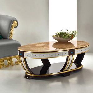 Capri CP181, Tavolino ovale, con decori in pelle