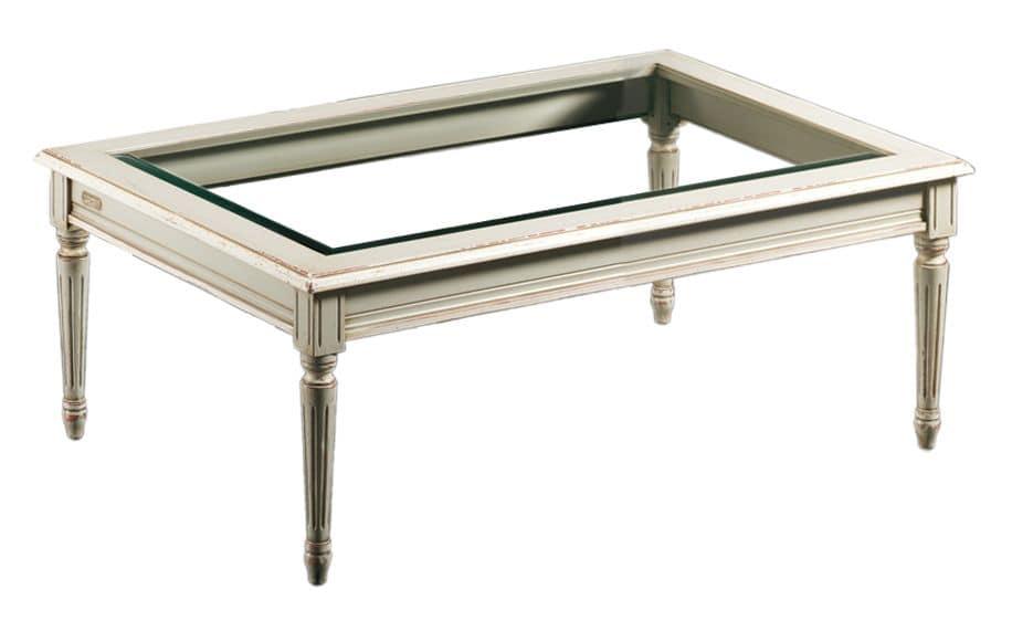 Clemente FA.0127, Tavolino rettangolare, piano in cristallo, stile antico