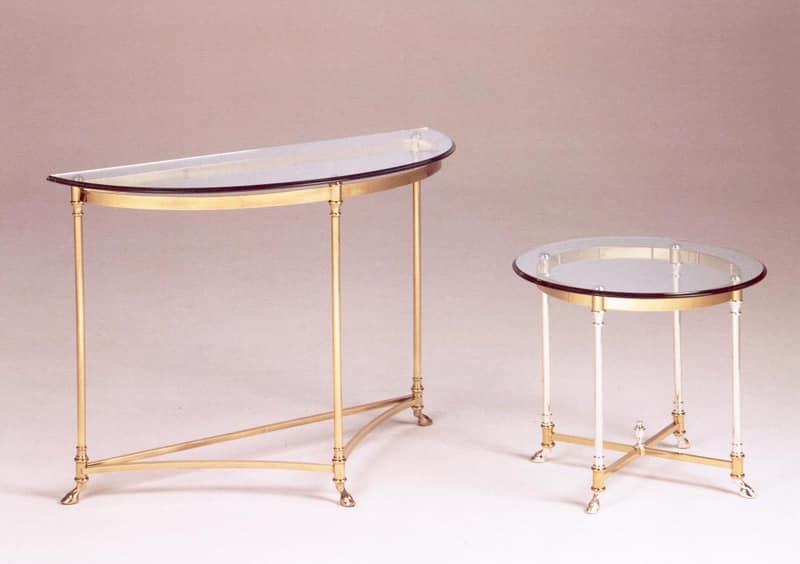 Tavolino in stile classico di lusso in ottone e vetro - Tavolini vetro e ottone ...