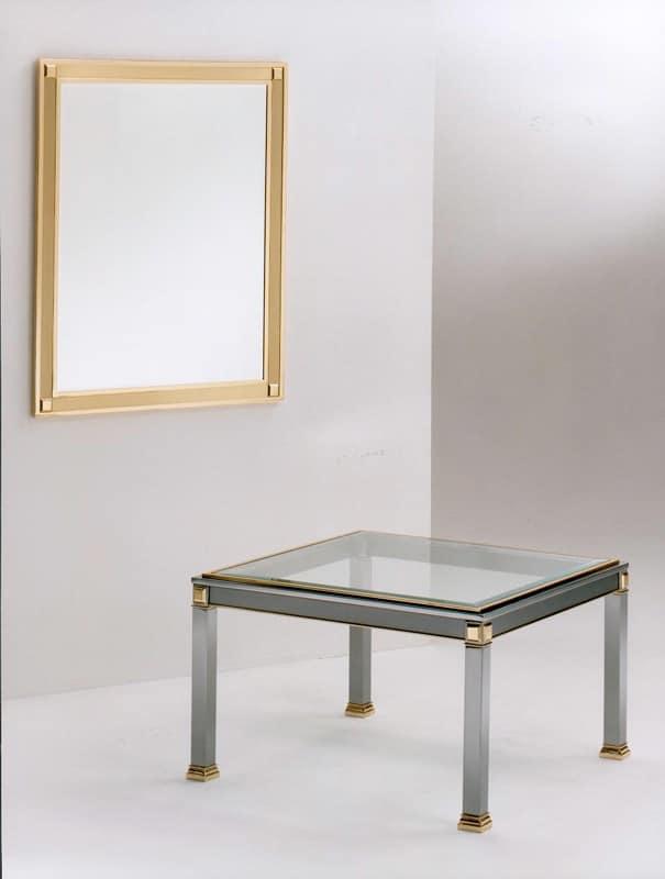 Tavolino per centro sala in acciaio ottone e vetro - Tavolini vetro e ottone ...