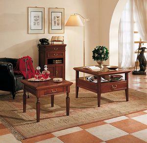 Giotto Tavolino, Tavolino con piano in vetro, 4 cassetti