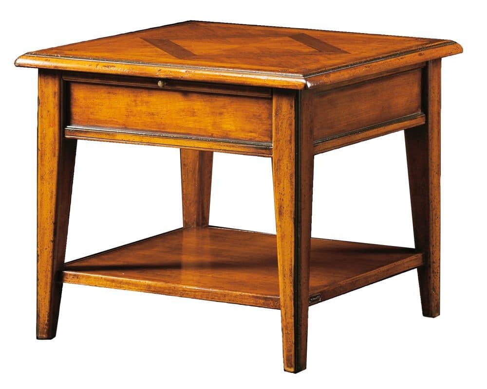Ivan FA.0125, Tavolino quadrato con piano in legno intarsiato