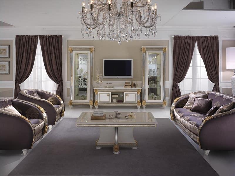 Tavolino da salotto in legno decorato artigianalmente - Tende per soggiorno classico ...