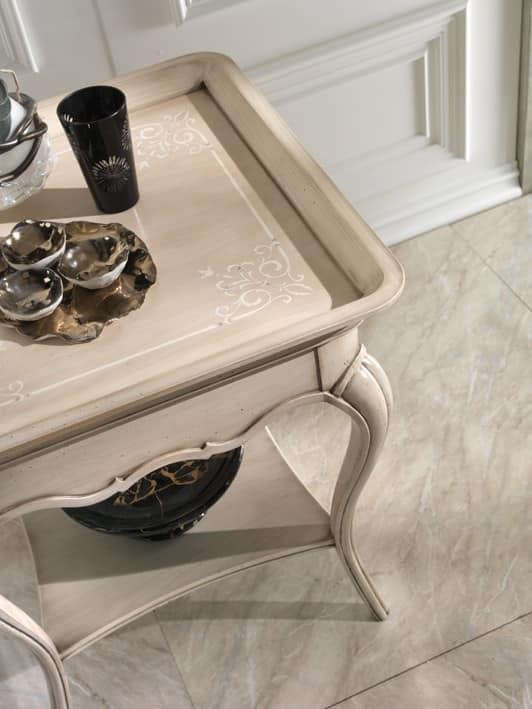 M 507 A, Tavolino con piano a vassoio, in ciliegio, con ripiano