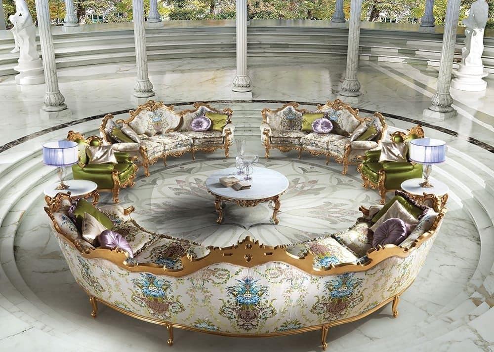 Tavolino rotondo centrale per salotti classici di lusso for Salotti di lusso