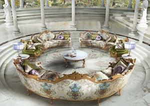 Millionaire B/1804/1, Tavolino rotondo centrale, per salotti classici di lusso