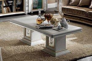 Mir� tavolino da salotto, Tavolino in legno con finitura perla, made in Italy