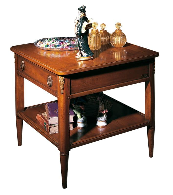 Orleans VS.5026, Tavolino quadrato in noce, con 1 cassetto e 1 ripiano, per salotti in stile classico