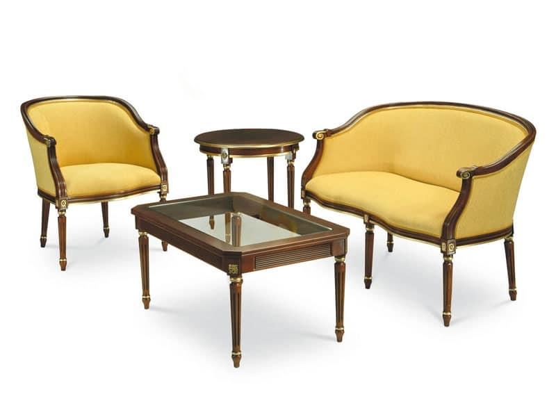 ORNELLA tavolino 8039T, Tavolino in faggio, gambe lavorate a mano, piano in vetro