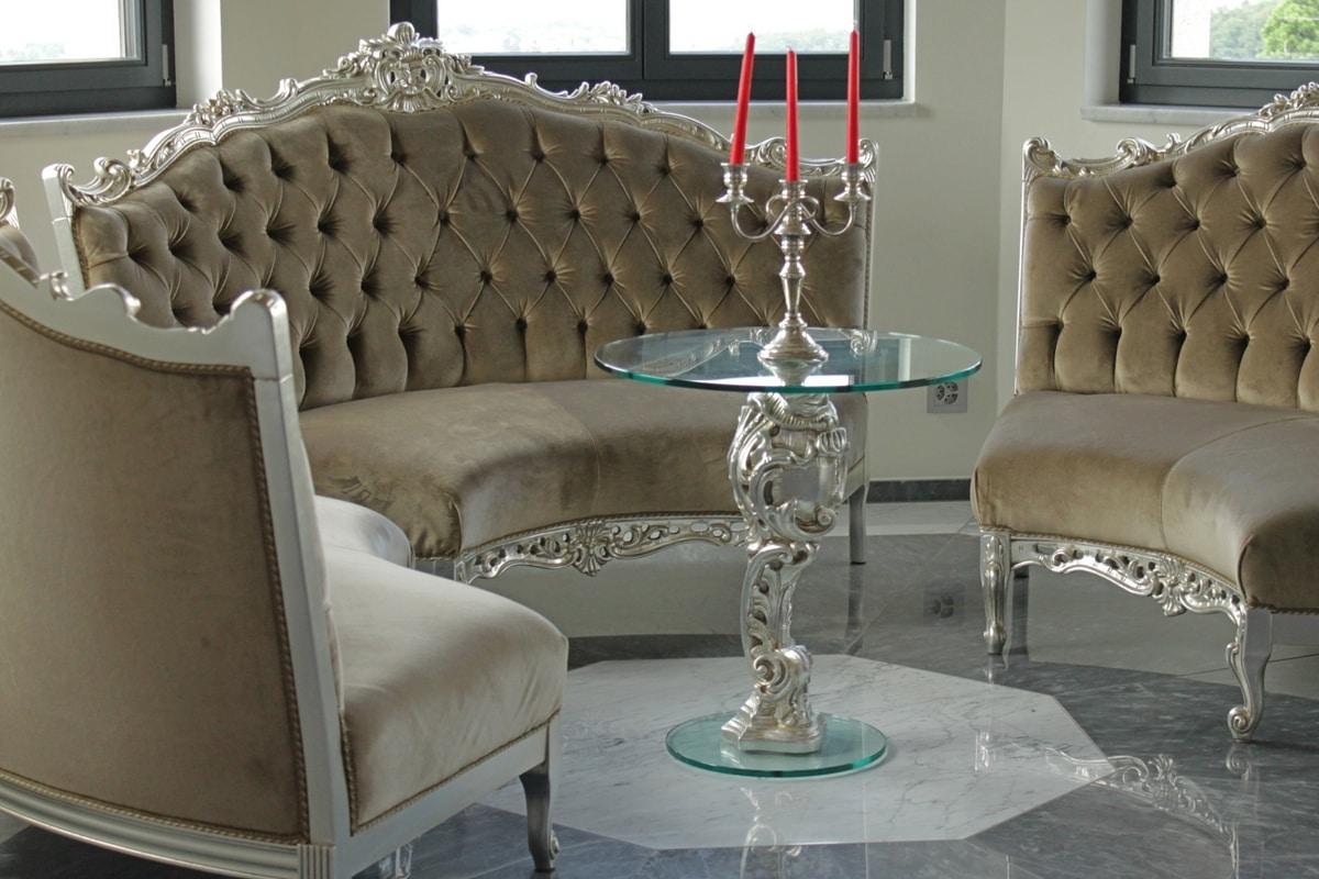 Oscar legno e vetro, Tavolino rotondo per hotel di lusso