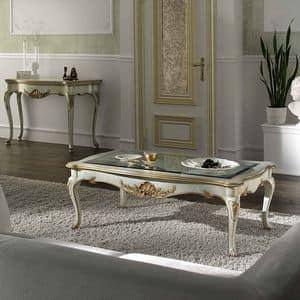 P 503 L, Tavolino rettangolare, laccato, piano in cristallo