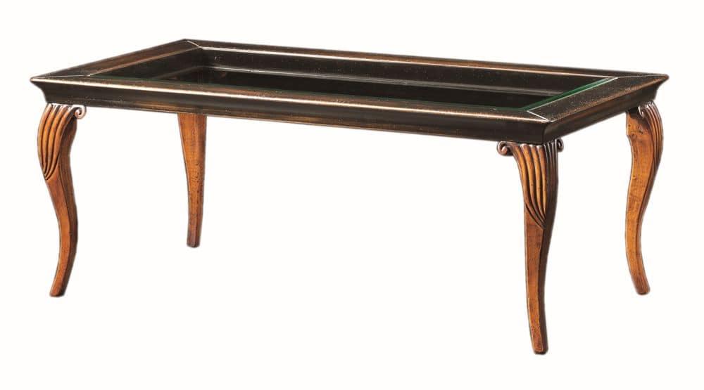 Raffaello FA.0134, Tavolino Decò in legno, piano in cristallo, stile classico