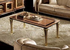 Rossini tavolino da salotto, Tavolino in radica con gambe sottili ed eleganti