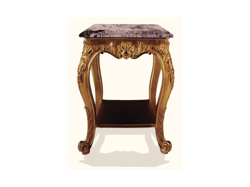 Tavolino art. 306, Tavolino in legno con piano in marmo nero, stile Luigi XV