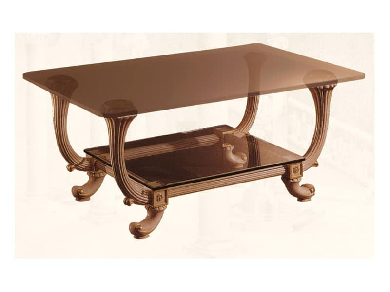 Tavolino art. 311, Tavolino in stile classico, con due piani in cristallo