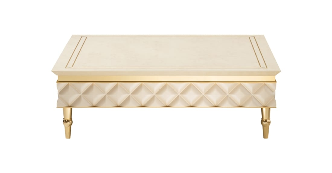 SIPARIO TAVOLINO 1, Basso tavolino in stile classico, con piedini dorati