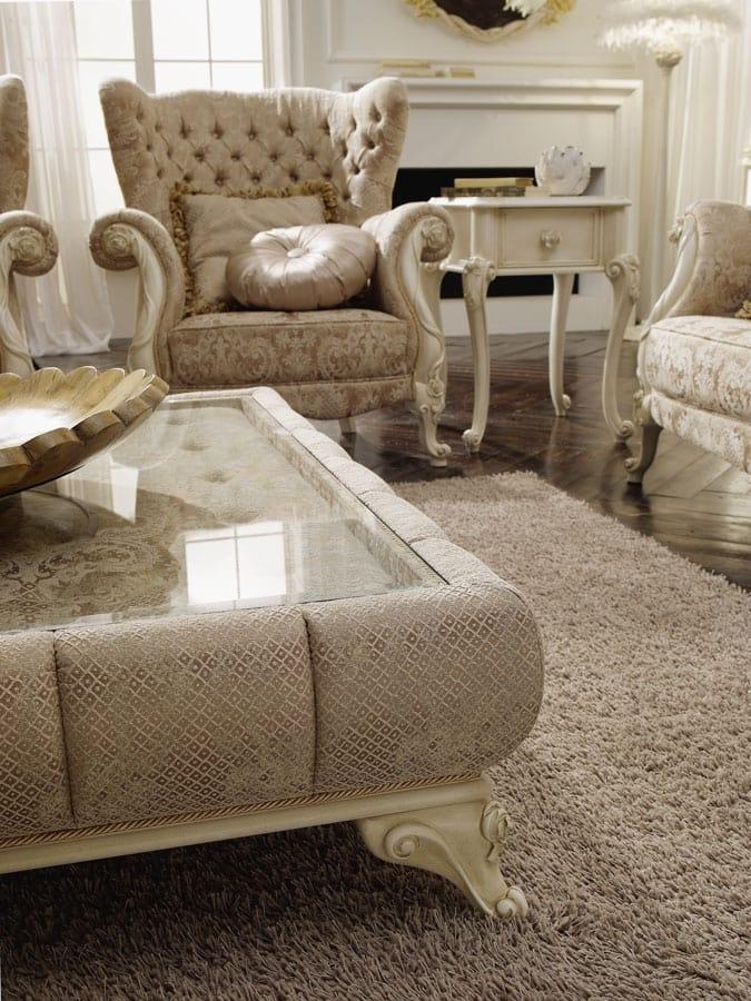 Tea tavolino, Tavolino da salotto imbottito