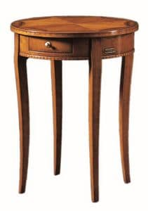 Tiziano FA.0139, Tavolino rotondo con un cassetto, lavorato a mano