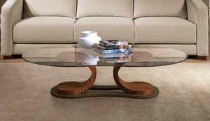TL57 Mistral tavolino, Tavolino per centro sala, in noce, piano in vetro