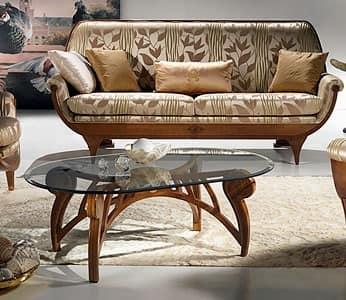 tavolino basso, tavolino piano in cristallo, tavolino da salotto - TL24 Le Spirali