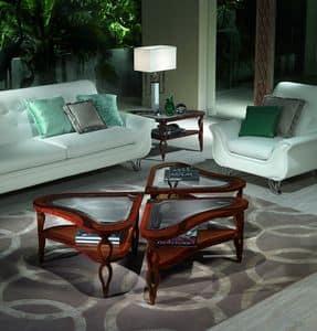 TL38 TL39 Quadrifoglio, Tavolini legno intarsiato per Ville classiche di lusso