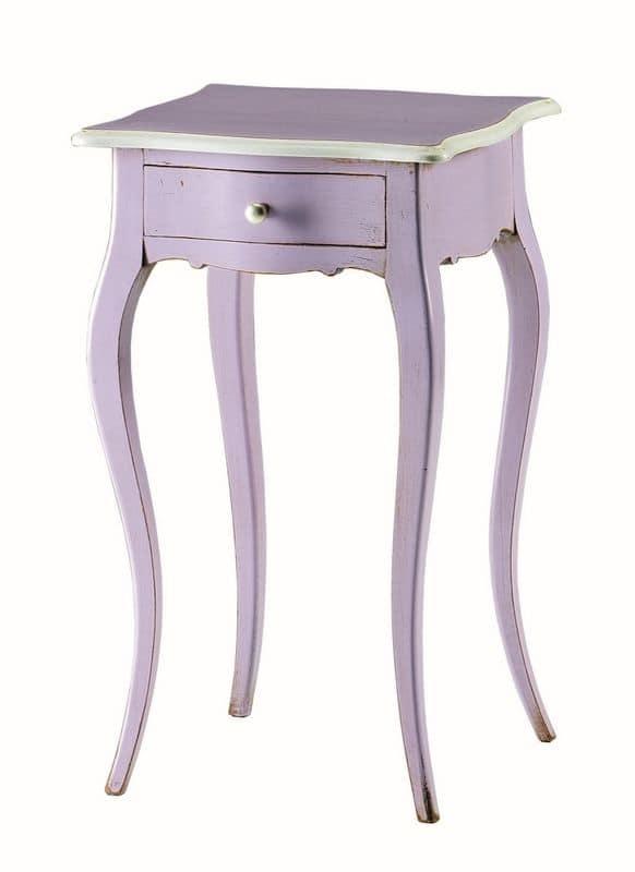 Valentine BR.0304, Tavolino laccato con un cassetto, stile classico