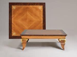 VINCENT tavolino 8445T, Tavolino basso classico, gambe riccamente lavorate a mano