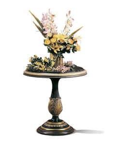 Vulcano B/1625/E, Tavolino rotondo intagliato per hotel di lusso