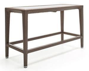 Altea bancone, Tavolo alto in fibra intrecciata, telaio in alluminio