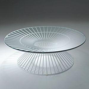 Circle, Tavolino rotondo con piano in vetro, per esterni