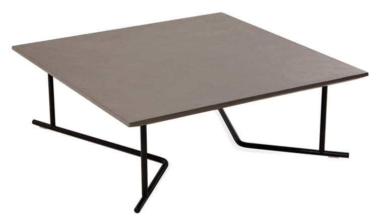 Tavolino basso quadrato base in metallo per esterni for Tavolini esterni