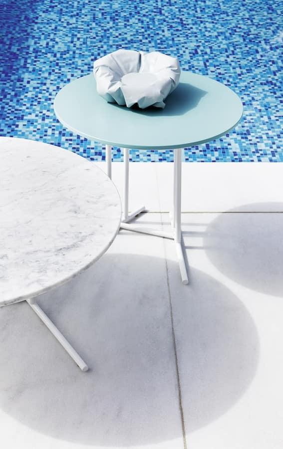 Belt tavolino 2, Tavolino tondo con base in acciaio verniciato, per esterno