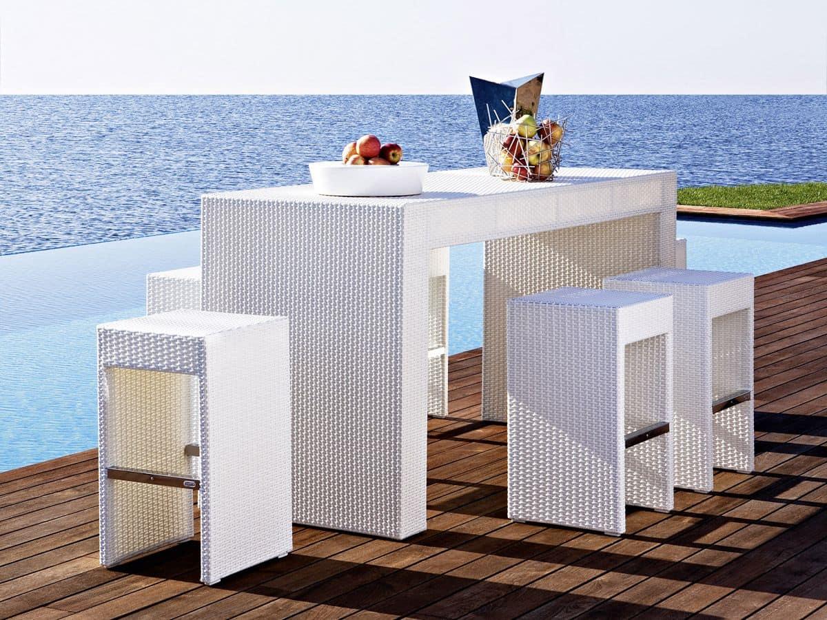 Tavoli Da Giardino Resistenti Allacqua.Tavolo Alto Da Bar Intecciato Per Giardino E Spiaggia Idfdesign