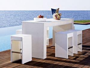 Cora bancone, Tavolo alto da bar, intecciato, per giardino e spiaggia