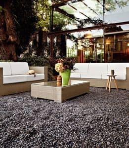 Cora tavolino, Tavolino intrecciato, con piano in vetro, per giardini e bar