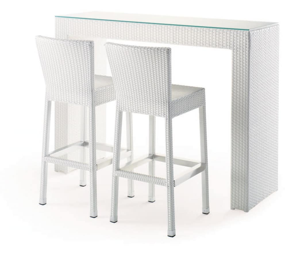Tavolo Alto Bar Bianco.Tavolo Alto Per Bar All Aperto Intrecciato Piano In Vetro