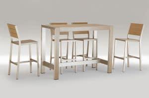 FT 709, Tavolo alto in alluminio e legno, per bar all'aperto