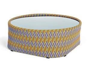Kente tavolino, Tavolino rotondo per esterni, intrecciato, con piano in vetro