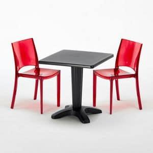 Sedie e tavolo bar policarbonato esterno Caff� � SET2SZCAFF�, Tavolino con colonna riempibile con sabbia