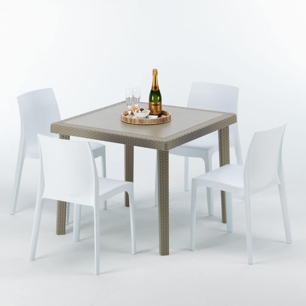 Tavolini Da Esterno Arredamento Giardino.Tavolino In Polyrattan Robusto Made In Italy Idfdesign