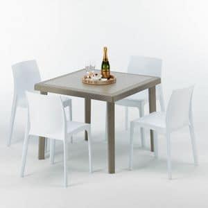 Set arredo giardino tavolo e sedie esterno � S7090SETJ4, Tavolino in polyrattan, robusto, made in Italy