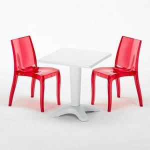 Set bar trasparente bar sedie e tavolo Balcony - SET2SZBALCONY, Tavolino da bar, dotato di sedie, stabile e robusto